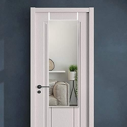 SHIGAKEN Full Length Mirror Over The Door, Door Mirror, Thin Frame, Hanging The Door or Wall, Adjustable Height Hooks On The Door (14 x 48, Silver)
