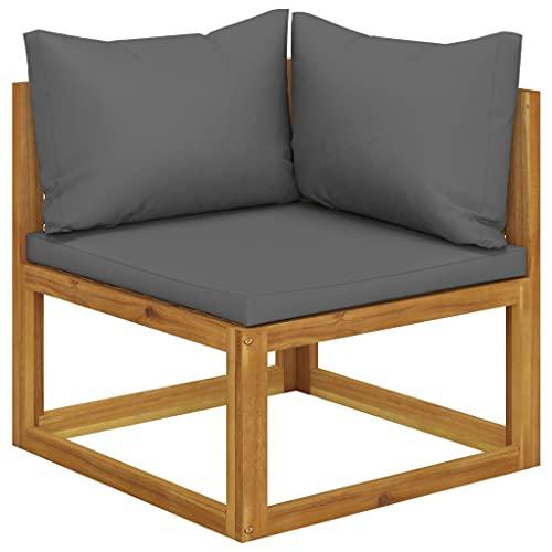 vidaXL Akazienholz Massiv Modular Ecksofa mit Dunkelgrauen Kissen Sofa Lounge Gartensofa Sessel Gartensessel Einzelsofa Gartenmöbel