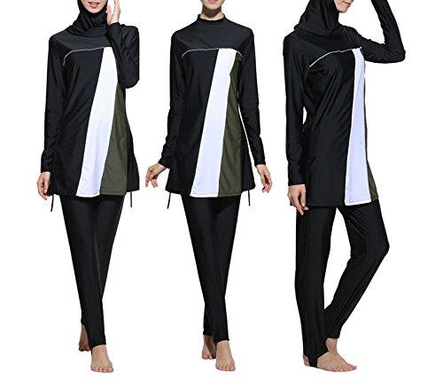 Konservative Muslim Bademode islamischen Badeanzug für Frauen Hijab Badebekleidung Full Deckung Bademode Muslim Schwimmen Beachwear Badeanzug, damen, schwarz