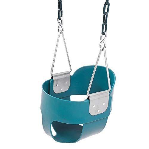 Dioche - Asiento de columpio de jardín para niños, columpio para niños, asiento de seguridad para columpio de EVA con cadena de acero inoxidable, carga máxima 300 kg, verde