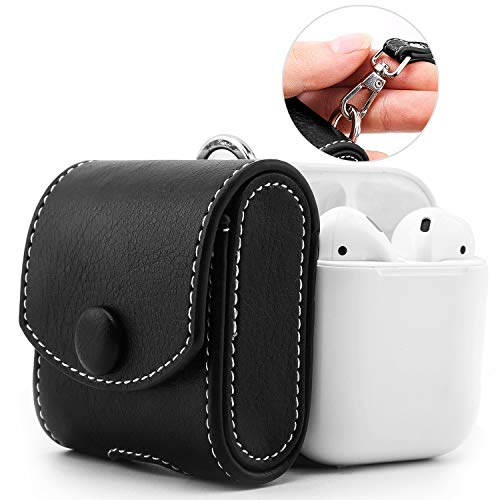 MoKo Case Fit AirPods 1/AirPods 2, Magnetic Snap Closure Protective Cover Carrying Pouch Pocket, with Holding Strap, for AirPods 1 & AirPods 2 Charging Case - Black