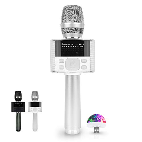 Miracle M100 - Wireless Bluetooth Karaoke Microphone, with LED Screen, Portable Handheld MIC & Speaker for Birthday, Home Party, Presentation Android/iPhone/PC, car Accessories (White)