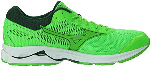Mizuno Men's Wave Rider 21 Running Shoes, Green Slime-Green Gecko, 9 D...