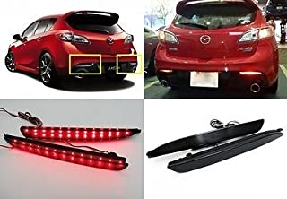 LEDIN Mazda3 2010+ Black Smoked Lens LED Bumper Reflector Tail Brake Light MAZDASPEED3