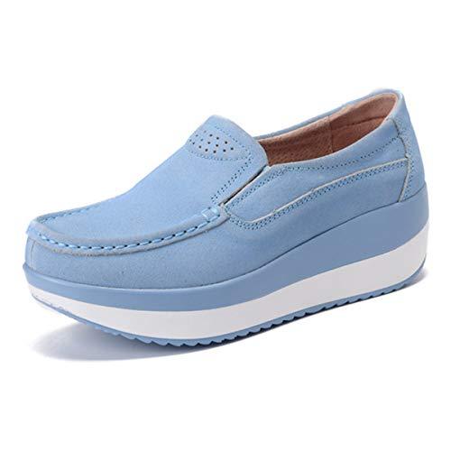 gracosy Slip-On Platform Shoes, Women's Suede Soft Toning Rocker Shoes Shape UPS Sneakers Walking Shoes Sky Blue