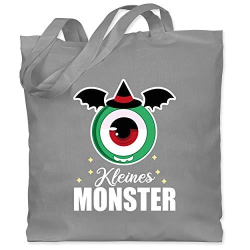 Shirtracer Halloween Kind - Kleines Monster - weiß - Unisize - Hellgrau - Spruch - WM101 - Stoffbeutel aus Baumwolle Jutebeutel lange Henkel
