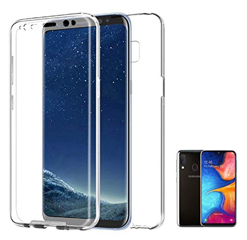 PLANETMOVIL Funda 360 Compatible con [ Samsung Galaxy A20e] (5,8 Pulgadas) Carcasa Doble Cara 360 de Silicona Delantera + Trasera TPU rigido Doble 100% Transparente Enteriza y Completa
