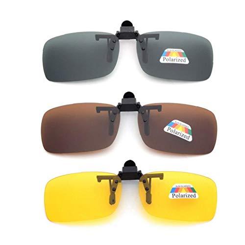 Frame-menos 3 PCS unisex UV400 lente polarizada rectángulo lente tirón encima del clip en gafas de sol de la prescripción de anteojos de visión nocturna de los vidrios