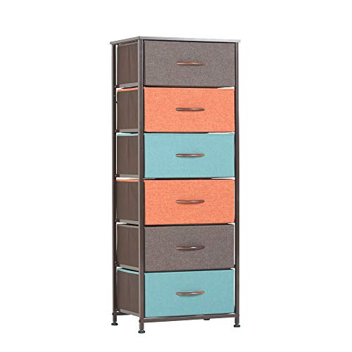 PiccoCasa Foldable Fabric Storage Cube Basket Bin, Collapsible Drawers Organizers with Fabric Handles for Home Office Shelves Closet Orange 13 x 13 x 13 Inch