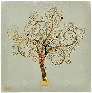 SOSPIRI VENEZIA Reloj de pared cuadrado de cristal de Murano árbol de la vida 30 x 30 cm, técnica de vitrofusión, decoración murrina y hoja dorada, hecho a mano por artesanos venecianos (blanco)