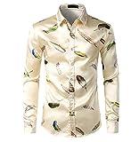 SHIEWDWE Camisa de seda impresa para hombre con tinta de salpicadura para hombre, para fiesta, casual, ajuste delgado, como se muestra en la imagen., S