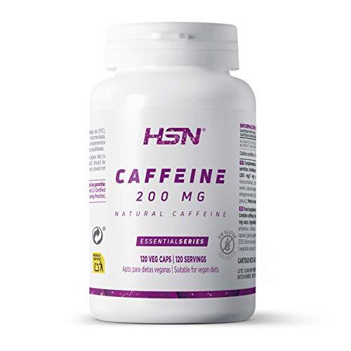 Cafeína Natural de HSN | 200 mg | Suministro para 4 Meses | Extracción de Granos de Café Verde | Máxima Energía + Estimulante | Vegano, Sin Gluten, Sin Lactosa | 120 Cápsulas Vegetales