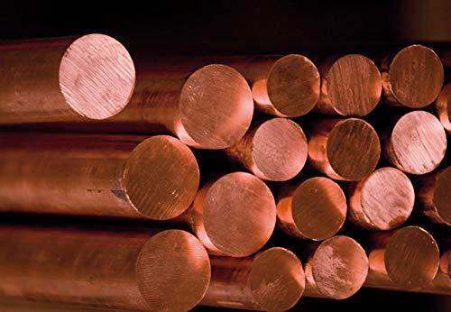Barra de cobre de 10 mm Cu 99,9% varilla redonda 2.0090 varilla redonda barra redonda barra completa material (0,5 metros = 50 cm = 500 mm)