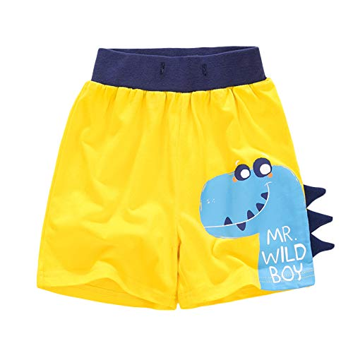YJWFHPU Boys Dinosaur Shorts Cotton Yellow Blue Trunks Boardshorts for Little Boys 2 7 Years Elastic Waistband