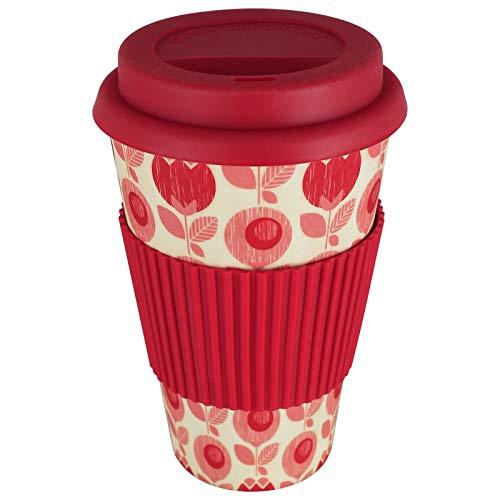 TW24 Coffee2Go Becher 400ml mit Motivwahl Kaffeebecher Trinkbecher Kaffee to Go Becher Bambusbecher (rot)