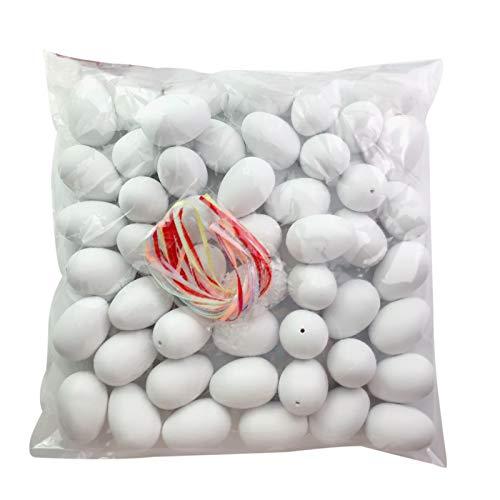 Dacitiery 50 Stück Ostereier Plastik mit Bunten Bändern und Plastikschnallen zum Aufhängen, DIY Bastelset für die Inneneinrichtung, Eier Bemalen für Jungen und Mädchen(Weiß)