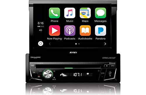 Jensen VX4014 7' 1DIN Multimedia Receiver with CarPlay, Flip-Up Touch-screen, Built-In Bluetooth, DVD/CD Receiver with AM/FM Tuner, Screen Mirroring Technology, 160W Max Power, Remote Control