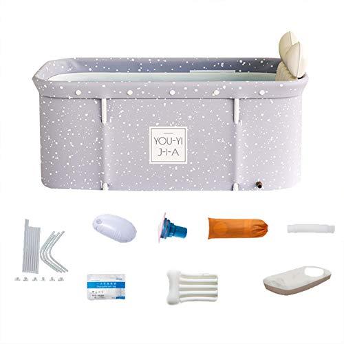 Bañera plegable portátil con tapa, 120x55x50cm Bañera de inmersión plegable para adultos, bañera de spa separada para baño, bañera de inmersión de pie para ducha, mantenimiento de la temperatura