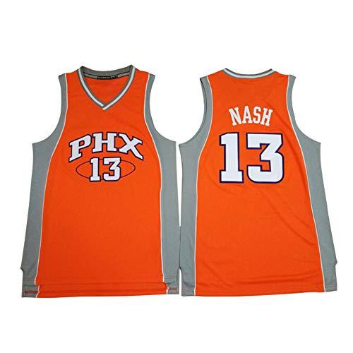 Herren Basketball Trikot-Phoenix Suns 13# Steve Nash Retro Shirt Swingman Basketballkostüm Ärmelloses, schnell trocknendes, Besticktes Mesh-Basketballtrikot (S-XXL)-orange-M(170cm.175cm)