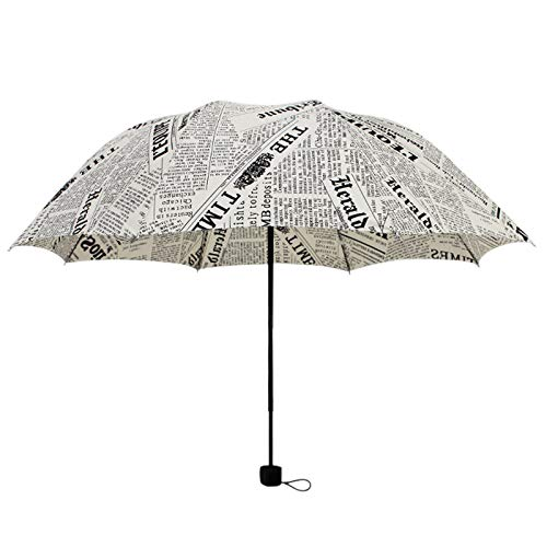 Vaorwne Britischer Wind Schwarz Und Wei? Zeitungs Regenschirm Faltender Automatischer Regenschirm Anti-Uv Sun/Regen Regenschirm Sonnenschirm Wei?