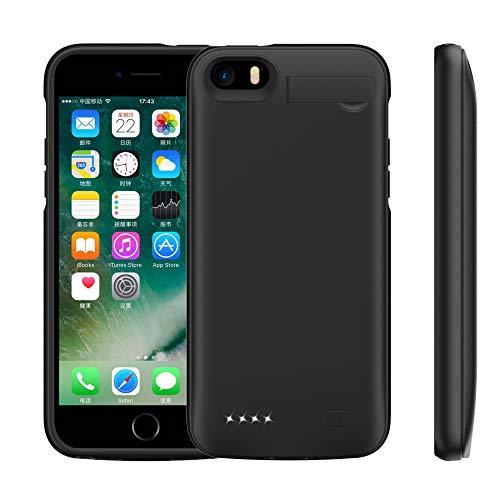 HiKiNS Akku Hülle für iPhone 5/5S/SE, 4500mAh Tragbare Ladebatterie Zusatzakku Externe Handyhülle Batterie Wiederaufladbare Schutzhülle Power Bank Akku Case für iPhone 5S/SE/5 - Schwarz