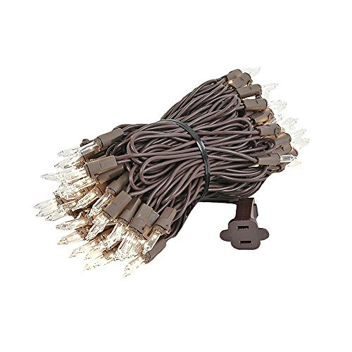 Novelty Lights 100 Light Clear Christmas Mini Light Set, Brown Wire, 34' Long…