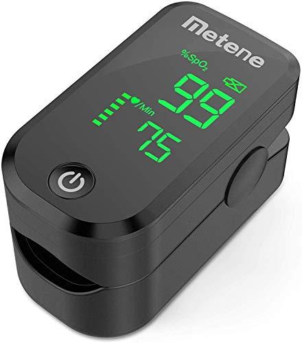 Oxímetro Cardíaco de punta del dedo Metene, Monitor de Saturación de Oxígeno en la Sangre, Frecuencia Cardíaca y Nivel de SpO2 con Cordón y Baterías, Gran Pantalla LED, para el Hogar