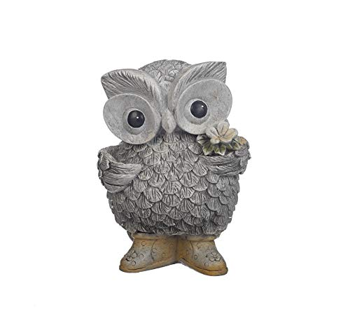 Roman Garden - Owl in Rain Boots Statue, 8.75H, Pudgy Pals Collection, Resin and Stone, Decorative, Garden Gift, Home Outdoor Decor, Durable, Long Lasting