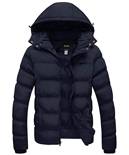 Tanming Men's Winter Warm Faux Fur Lined Coat With Detachable Hood (X-Large, Black)