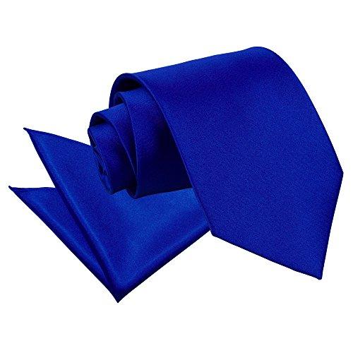 DQT Nouveauté Cravate Unie Homme Haute Qualité Et Mouchoir Assorti Pour Mariage Bleu roi