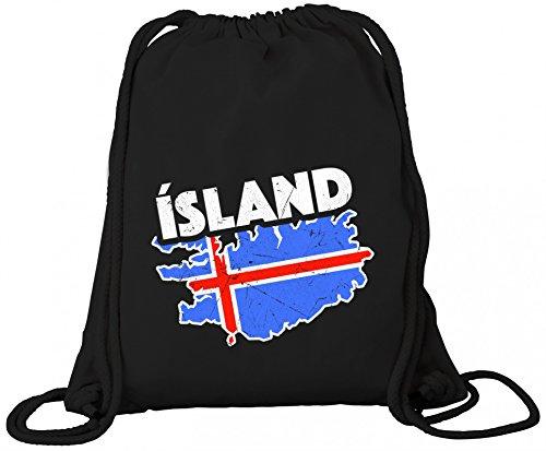 ShirtStreet Iceland Fußball WM Fanfest Gruppen Premium Bio Baumwoll Turnbeutel Rucksack Stanley Stella Land Island, Größe: onesize,Black