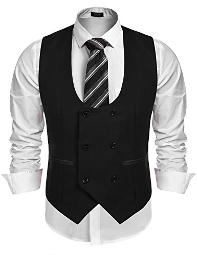 Coofandy Men's Slim Fit Dress Suits Double Breasted Solid Vest covid 19 (Mens Formal Tuxedo coronavirus)