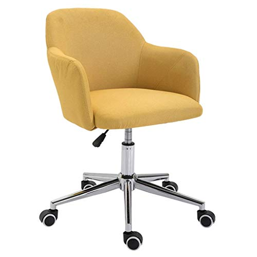 ZXL Adjustable Modern Linen Upholstered Office Chair,Home Computer Chair with Lumbar Support and Arms (Color : Yellow)