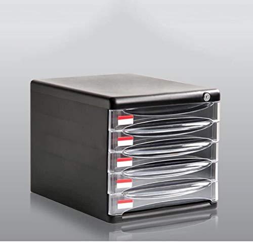 Organizador para el Escritorio Cabina de fichero de Datos de Escritorio Organizador de Almacenamiento Caja de plástico del gabinete del cajón Fuerte confidencialidad Negro con la Cerradura