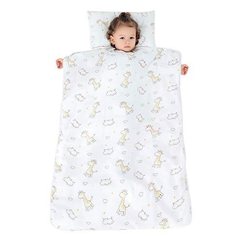 YFCH Baby/Kinder Jungen/Mädchen Schlafsack Kinderschlafsack Abziehbar Babyschlafsack Baumwolle Musselin Schlummersack Babydecke mit Kopfkissen, Gelb Reh/Giraffe, 90 × 120CM