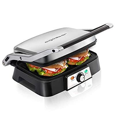 Aigostar Hitte Panini Maker 30KHG - Sandwich Press, Panini Press, Electric Contact Grill, 1500W, Cool Touch, Nonstick Plate, Light Indicator, Silver. from Aigostar