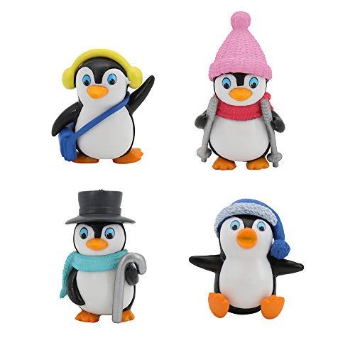 Homo Trends 4Pcs Christmas ornament Winter Miniature Penguin Figurine Mini DIY Fairy Garden Home Ornaments Landscape Decoration