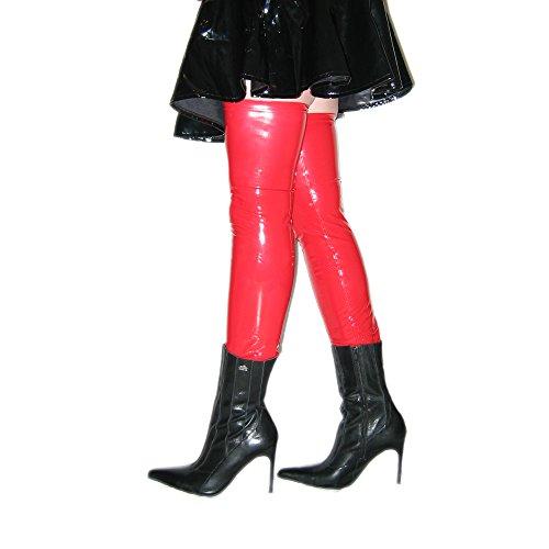 Rubberfashion Lange Lack Strümpfe, Lackstrümpfe bis zum Oberschenkel mit beschichteter Oberfläche für Frauen und Herren Paar rot M