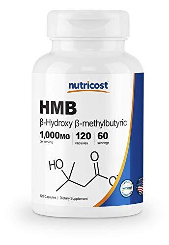 Nutricost HMB (Beta-Hydroxy Beta-Methylbutyrate) 1000mg (120 Capsules) - 500mg Per Capsule, 60 Servings - Gluten Free and Non-GMO