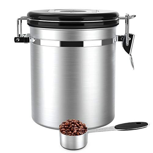 Luxebell Kaffeedose Edelstahldose Aromaverschluss für 500g / 1,5 Liter Kaffeebohnen mit Edelstahl Löffel, Tee, Kakao, Müsli, Nudeln, Haferflocken (Silber)