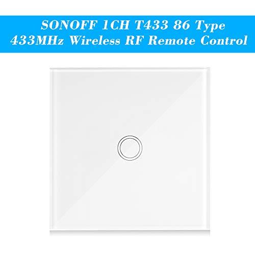 OWSOO SONOFF Interruptor Tactil Pared T433 86 Tipo 433MHz 1 Gang Transmisor de Control Remoto Inalámbrico Soporta Todos los Productos SONOFF RF 433MHz Lámpara de Escalera de Control, 1PCS