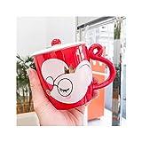 ADosdnn Cartoon Animal Rat Ins in Ceramica Tazza Carina Netta Rossa Tazza Creativa con Coperchio Cucchiaio Ufficio Coppia Coppia Tazza di caffè Regali di Fidanzamento della Tazza di caffè (Color : A)