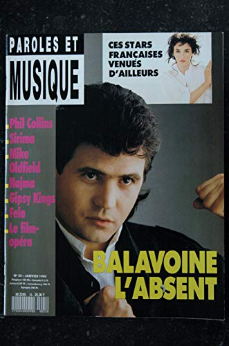 Paroles & Musique n° 25 * 1990 01 * BALAVOINE PHIL COLLINS GIPSY KINGS FELA SIRIMA NAJMA MIKE OLDFIELD ADJANI