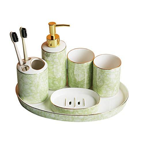 WFSH Modernes Design 6 Badezimmer Zubehör-Sets, Lotion-Flaschen, Zahnbürste Schachteln, Becher, Seifen Kästen Und Einlagen (Color : B, Size : 6-Piece-Set)