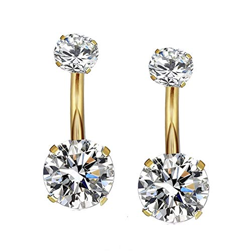 YHMM 14G Surgical Steel Gold Belly Button Rings Navel Barbell Stud Body Piercing (2 Pcs Clear)