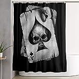 Cortina de la Ducha Polyester Shower Curtain Poker Skull Hearts Card Black Waterproof Bath Curtain with Hooks 60Wx72H Inches