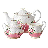 Royal Albert New Country Roses Party Cheeky Pink 3-Piece Tea Set, Mostly White with Multicolored Floral Print