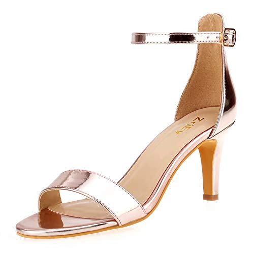 ZriEy Women's Heeled Sandals 3 Inches Strappy Rose Gold Open Toe Stiletto High Heels Mid Heels Ankle Strap Fashion Bridal Party Wedding Pump Shoes Size 7.5