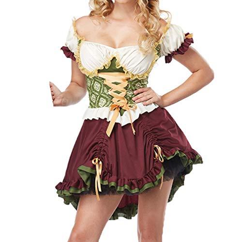 MEIHAOWEI Halloween Hündin Oktoberfest Schwedisches Bier Mädchen Sexy Kostüm Damen Dirndl Servierhündin Bayerisches Bier Oktoberfest Kostüm