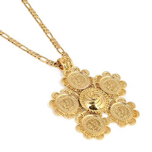 BR Gold Jewelry Halskette mit großem Kreuz äthiopischer Halskette für Damen und Herren, Goldfarben, Schmuck Afrika, Münze, Kreuz, Eritrea, Habesha